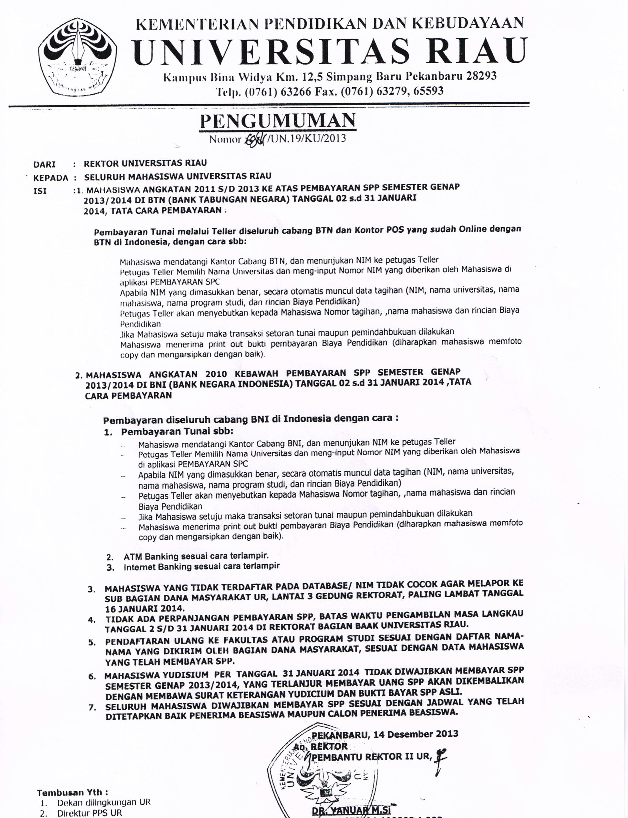 Pembayaran SPP Semester Genap 2013/2014