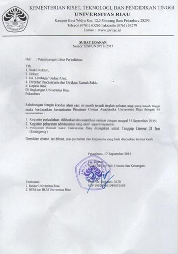 Surat Edaran Rektor UR : Perkuliahan diliburkan s/d 19 September 2015